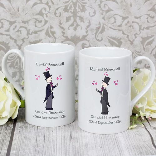 Personalised Male Wedding Mug Set